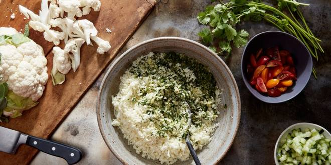 swapping out rice with crumbled cauliflower
